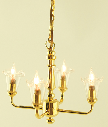 Dollhouse Miniature Chandelier, 4-Light Tulip