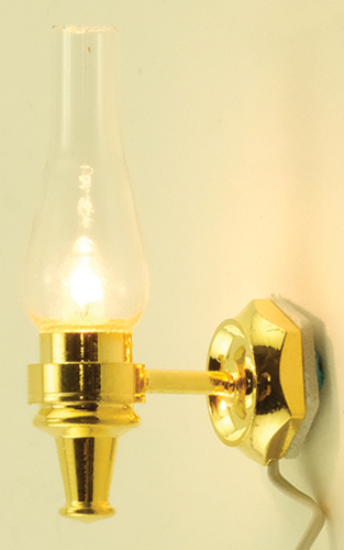 Dollhouse Miniature Wall Sconce Clear, Gold Base