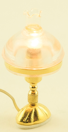 Dollhouse Miniature Victorian Table Lamp, Clear Shade