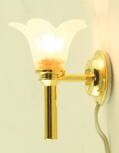 Dollhouse Miniature Wall Sconce, Frosted Flower