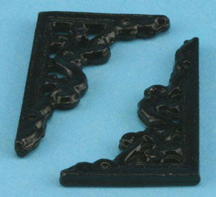 Dollhouse Miniature Bracket Large 2Pcs Black