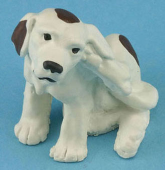 Dollhouse Miniature Scratching Dog