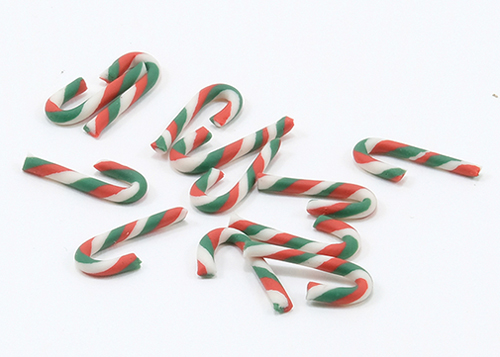 Dollhouse Miniature Red/Green/White Candy Canes 12Pcs.