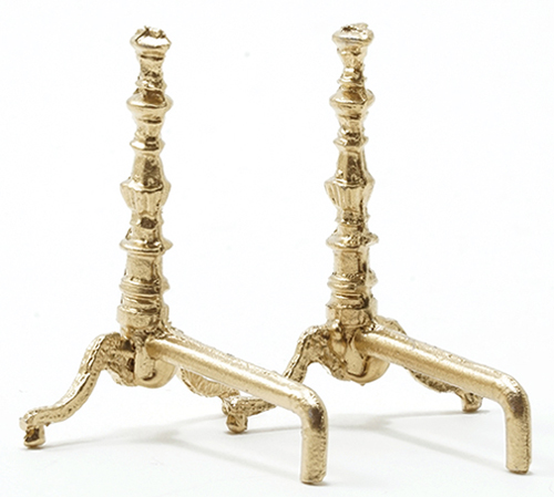 Dollhouse Miniature Gold Andirons-Pair