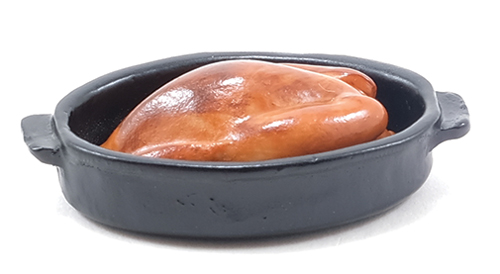 Dollhouse Miniature Turkey In Black Pan