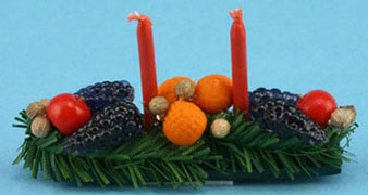 Dollhouse Miniature Centerpiece with Fruit and Candles