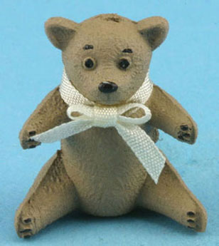 Dollhouse Miniature Bear with Bow