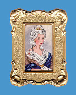 Dollhouse Miniature Antique Frame with Picture