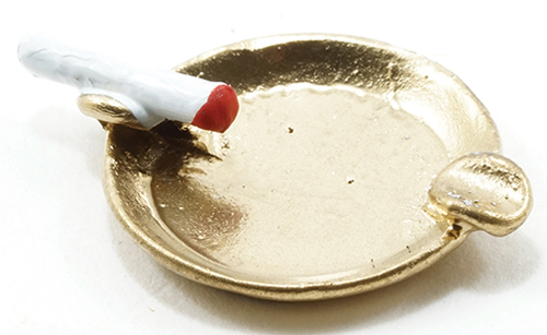Dollhouse Miniature Ash Tray with Cigarette