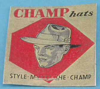 Dollhouse Miniature Champ Hat Sign