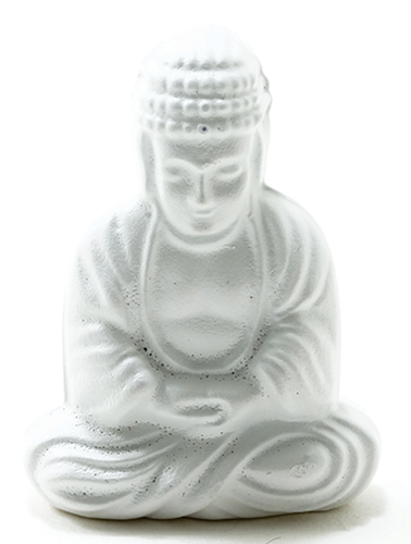 Dollhouse Miniature Sitting Buddha-White