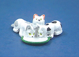 Dollhouse Miniature 3 Cats with Bowl Of Milk