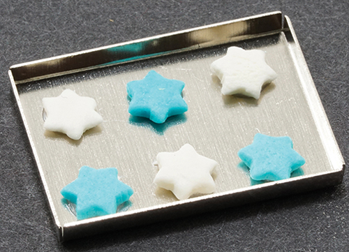 Dollhouse Miniature Hanukkah Cookies On Baking Sheet
