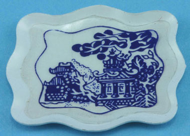 Dollhouse Miniature White Tray with Blue Pattern