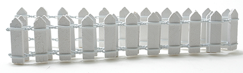 Dollhouse Miniature 1 Inch White Picket Fence, 18 Inches Long