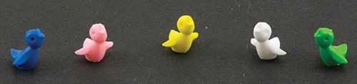 Dollhouse Miniature Colored Chicks, 5Pk