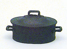 Dollhouse Miniature Black Pot with Lid