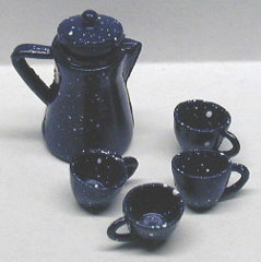 Dollhouse Miniature S/4 Blue Spatter Coffee Set