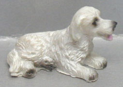 Dollhouse Miniature White Dog - Laying Down