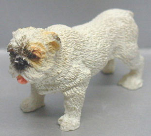 Dollhouse Miniature Bull Dog - White - Standing