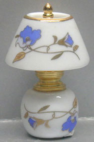 Dollhouse Miniature China Brass Lamp- Blue Floral