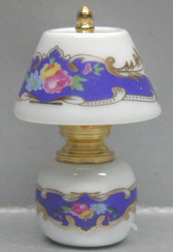 Dollhouse Miniature China/Brass Lamp-Multi Colored