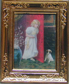 Dollhouse Miniature Girl/Dog Metal Frame 2 X 2 3/4