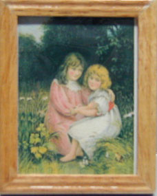 Dollhouse Miniature 2 Girls, Oak Frame 1 3/4 X 2 1/4