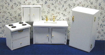 Dollhouse Miniature White Modern Kitchen, 4Pc