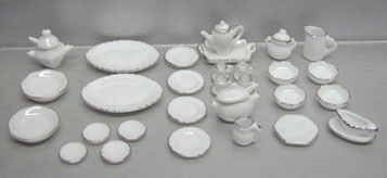 Dollhouse Miniature 40 Pc White/Silver Trim Dinner Set