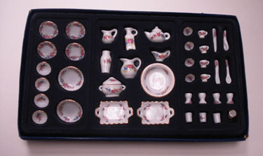 Dollhouse Miniature 41 Pc Dinner Set-Floral Design