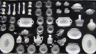 Dollhouse Miniature 51 Pc Dinner Set- Med Purple