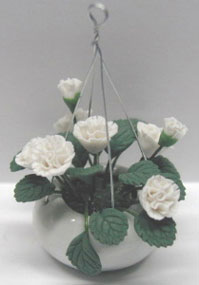Dollhouse Miniature Hanging-White Roses 2 3/8