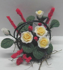 Dollhouse Miniature White Roses/Wire Basket 1 1/4