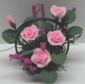 Dollhouse Miniature Pink Roses/Wire Basket 1 1/4