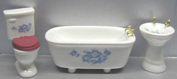 Dollhouse Miniature 3Pc Blue Floral Bath Set