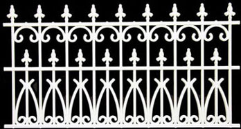 Dollhouse Miniature Fence 3-1/2 In White Ornate Plastic, 2Pc