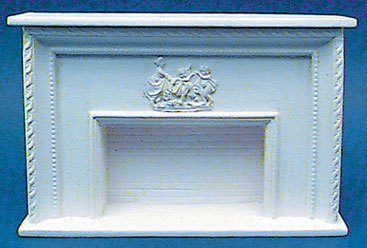 Dollhouse Miniature Fireplace, with Plaque