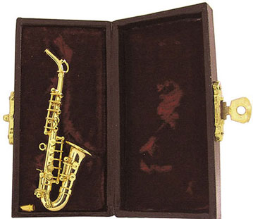 "Dollhouse Miniature 3"" Saxophone with Case"