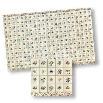 Dollhouse Miniature Tile, Flower Delft, 4Pk, 1/24
