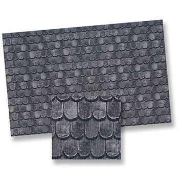 Dollhouse Miniature Slate Roof Mtr, 4pc