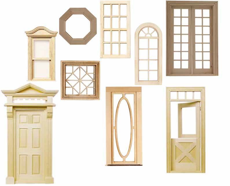 Dollhouse Doors, Windows, Shingles and Supplies