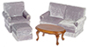 Dollhouse Miniature Living Room Set, 4 pc