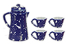 Dollhouse Miniature Spatter Coffee Set, Blue