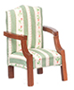 Dollhouse Miniature Chair, Green, Walnut
