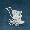 Dollhouse Miniature Baby Stroller, White