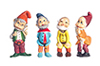 Dollhouse Miniature Set of Gnomes, 3 Inches, 6pc