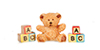 Dollhouse Miniature Polyresin Bear, ABC Blocks