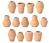 Dollhouse Miniature Clay Pots Assorted, 12 pc