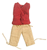 Dollhouse Miniature Lady's Red V Neck, Tan Cap